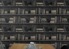 Papier Peint bibliothèque trompe l'oeil livres noir et doré donnera à votre…