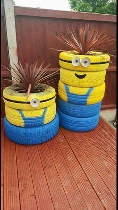"""Minion planters made from old tires. More """"Minion planters"""" Garden Crafts, Garden Projects, Garden Art, Garden Design, Garden Ideas, Easy Garden, Fence Ideas, Garden Tips, Tire Craft"""