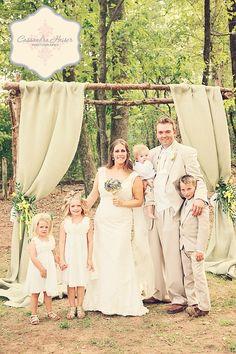 Rustic, Outdoor Wedding, Burlap Drape, Altar  Venue:  The Barn at Twin Oaks Ranch, Dardanelle, Arkansas  Photography:  Cassandra Heiser Photography, Pheonix Arizona
