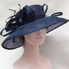 Church Kentucky Derby Carriage Tea Party Wedding Wide Brim Sinamay Hat Navy Blue