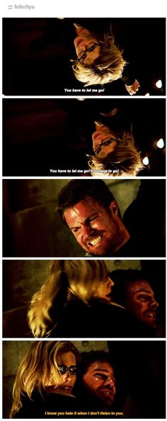 """I know you hate it when I don't listen to you"" - Oliver and Felicity The Flash, Arrow Oliver And Felicity, Felicity Smoak, Dc Comics, Arrow Memes, Flash Funny, Team Arrow, Arrow Cw, Arrow Tv Series"