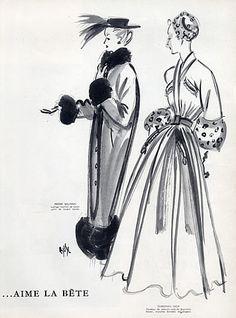 1940s Christian Dior & Pierre Balmain 1947 Velvet Coats, Fernando Bosc. Fashion sketch, illustration, drawing.