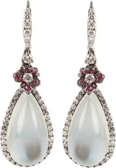 ARUNASHI Moonstone Earrings with Sapphire Flowers   thestylecure.com