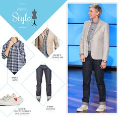 Ellen S Look Of The Day Khaki Blazer Plaid On Down Cuffed Jeans And Sneakers Makeup By Heather Currie Degeneres