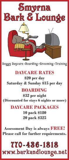Rack card design & layout for local doggy daycare and grooming business.
