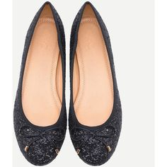 SheIn(sheinside) Bow Tie Glitter Ballet Flats - Black (£12) ❤ liked on Polyvore featuring shoes, flats, black sparkly flats, glitter flats, black flats, black bow flats and round toe ballet flats