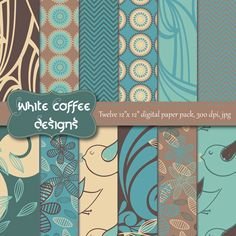 Scrapbooking paper cute pattern premade by WhiteCoffeeDesigns