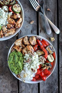 Shake off your lunch slump with these California Chicken, Veggie, Avocado & Rice Bowls