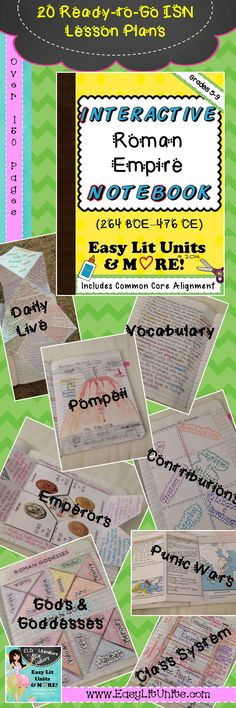 Ready to Teach Interactive Student Notebook Lessons about Ancient Rome & the Roman Empire Grades 5-9. Eighteen lessons plus 3 bonus lessons & over 150 pages! Ideal way to start your year! www.EasyLitUnits.com