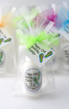 Birthday luaus need tropical favors--like these coconut twist lotions. Flip flop design is fun for beach parties and bridal showers, too.