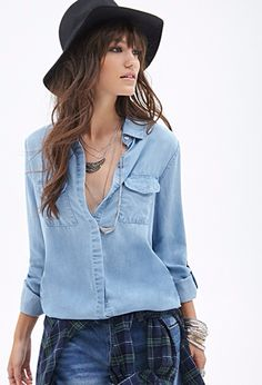 Chambray, wide brim hat, layered necklaces