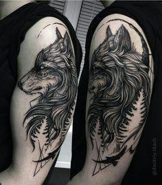 Shoulder Wolf tattoo