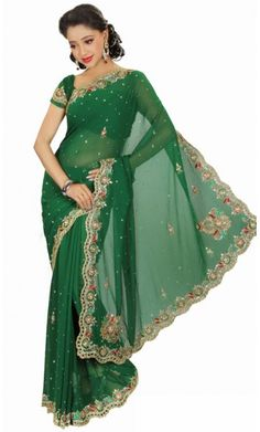 Majesty Deep Green Embroidered Saree