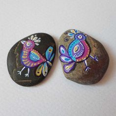 Hand painted Stones Pebble Art, Birds drawing Fantasy Miniature Art, Sea stones art, Gift for Teens, Valentine Gift I love you, Painted rock