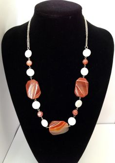 Chunky red Sardonyx, fire agate and pearl gemstone necklace - Michela Rae