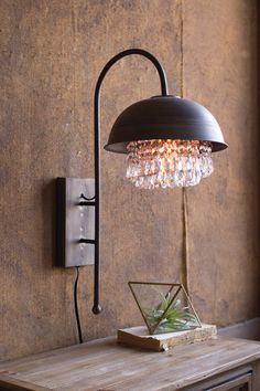 Metal Dome Wall Lamp w/Gems Detail