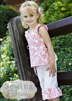 Izzy Ruffle Capri Pants Set (Size 6 to 9 months to 6) Sewing E-Pattern and Tutorial