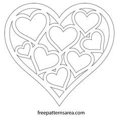 Heart Shaped Vector Template For Valentines Day Heart Shapes Template Heart Template Heart Printable