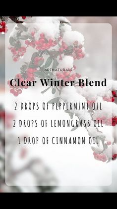 Clear Winter Essential Oil Blend Double for my kitchen diffuser Essential Oil Diffuser Blends, Doterra Essential Oils, Lemongrass Essential Oil Uses, Cinnamon Essential Oil, Essential Oil Candles, Young Living Oils, Young Living Essential Oils, Aromatherapy Oils, Aromatherapy Candles