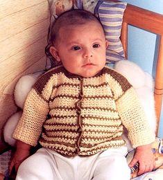 Saquito bicolor en tejido crochet