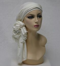 Super Long Head Wrap, turban Creme Jersey  (One Piece) with clip-on bow. #alopecia #chemo