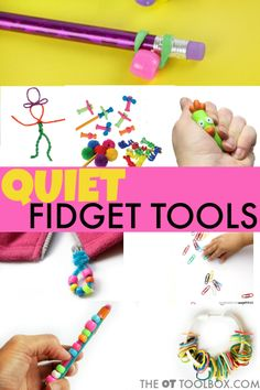 Quiet Fidget Toys for School - The OT Toolbox - - Quiet fidget tools for kids in the classroom to help with attention, fidgeting, or sensory needs. Diy Fidget Toys, Fidget Tools, Diy Toys, Homemade Fidget Toys, Sensory Tools, Sensory Play, Sensory Diet, Therapy Activities, Adhd