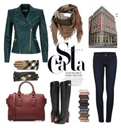 """""""Fall outfit"""" by camilika ❤ liked on Polyvore featuring Burberry, Urban Decay, Balmain, J Brand, Tommy Hilfiger, Leather, GREEN and Checked"""