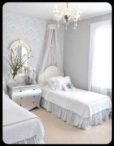 Guest room in soft greys with it looks like a silver chest! by dear lillie blog @ The Old Painted Cottage