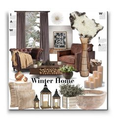 """Winter Home"" by marionmeyer on Polyvore featuring interior, interiors, interior design, Zuhause, home decor, interior decorating, Amara, Frontgate, AK47 und Pier 1 Imports"