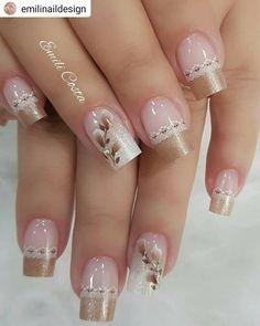 french nails classy Tips Elegant Nails, Classy Nails, Stylish Nails, Cute Acrylic Nails, Cute Nails, Nail Deco, Nail Art Designs, Bride Nails, Wedding Nails