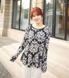 2013 Women Fashion Totem Printing Black Shirt