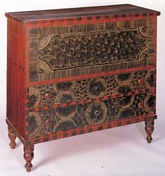 CHEST OVER DRAWERS/ Artist unidentified, 1825–1840, paint on wood, including basswood, 40 x 42 1/4 x 18 1/4 in., American Folk Art Museum, gift of Jean Lipman in honor of Cyril I. Nelson, 1994.5.1 Photo by Gavin Ashworth