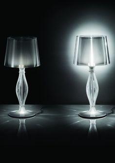 The #crystal table #lamp interpreted through the use of Lentiflex® - Slamp presents Liza collection at Euroluce @slampSpa