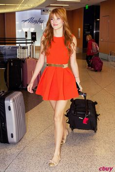 Bella Thorne in Red Dress