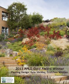 Awesome hillside planting scheme in California.