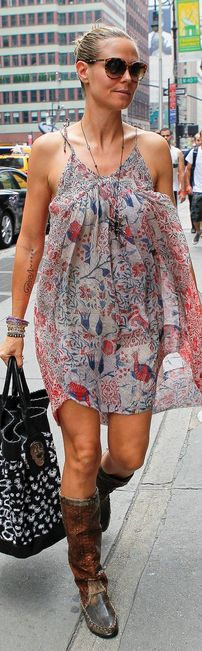 Who made  Heidi Klum's print dress that she wore in New York on August 11, 2012?
