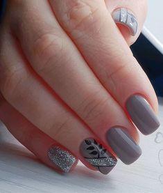 Manicure Colors, Gel Manicure, Nail Colors, Grey Nail Designs, Best Nail Art Designs, Cute Nails, Pretty Nails, Grey Nail Art, Simple Acrylic Nails