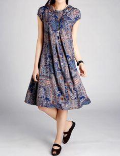 Women summer Cotton printed long big swing dress by MaLieb on Etsy