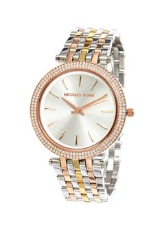 MICHAEL KORS Tri Tone 39mm Darci Round Bracelet Watch Jewelry 2014, Michael Kors Sale, Cool Style, My Style, Diamond Are A Girls Best Friend, Designer Collection, Bracelet Watch, Fashion Jewelry, Watches