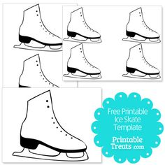 A free printable ice skate template for ice skating lovers. You can use this ice skate template to make ice skating party invitations. Ice Skating Cake, Ice Skating Party, Skate Party, Ice Skating Dresses, Winter Art Projects, Winter Crafts For Kids, Templates Printable Free, Free Printables, Hockey Birthday Cake