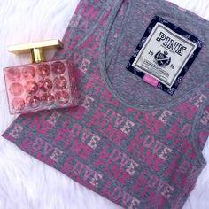 | PINK | Love PINK Monogram Top Monogram Love Pink top by Victoria's Secret in good condition PINK Victoria's Secret Tops Tank Tops