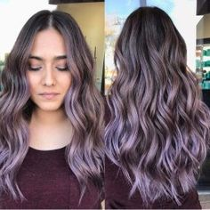 purple hair ombre Lilac ombre hair for brunettes By of That bl Ombre Hair Brunette, Best Ombre Hair, Brown Ombre Hair, Brunette Color, Ombre Hair Color, Hair Color Balayage, Hair Highlights, Gray Hair, Brown Hair With Purple Highlights