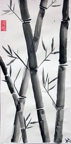 Middle School Art: Sumi Ink Bamboo painting, Art Teacher Jennifer Lipsey Edwards