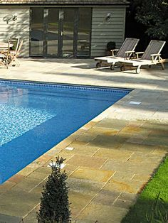Tandur Yellow Fitted Pool Surround - Summer Entertaining Outside. Natural Stone Flooring, Swimming Pools Backyard, Stone Tiles, All Over The World, Natural Stones, Garden Design, Entertaining, Yellow, Outdoor Decor