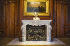 classical library interior, walnut library, french fireplace, white marble fireplace, pikstudio design