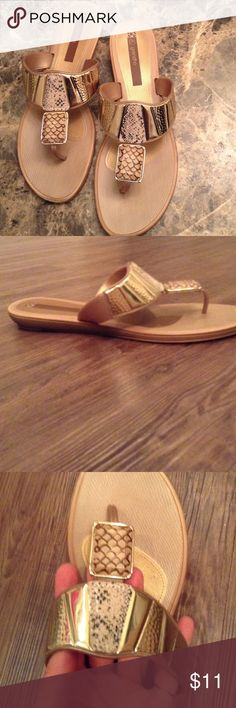 Gold embellished thong sandals All man-made materials, flip-flop style gold sandals with thick rubber sole. Worn several times, in very good condition, just soles show some wear Grendha Shoes Sandals