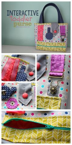 fun interactive toddler purse to keep your little one busy a girl and a glue gun #sew #purse #kids #diy Easy Sewing Projects, Sewing Hacks, Sewing Crafts, Diy Projects, Fabric Crafts, Sewing Ideas, Sewing Classes For Beginners, Quilting For Beginners, Sewing To Sell