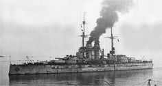 Austro-Hungarian Tegetthoff class battleship Szent Istvan - unusual for their time with their triple 12 in turrets. She was torpedoed and sunk in June 1918 by the Italians in the Adriatic - notably her destruction was filmed (photo elsewhere). Naval History, Military History, Gun Turret, Merchant Marine, Austro Hungarian, Submarines, War Machine, Water Crafts, Battleship