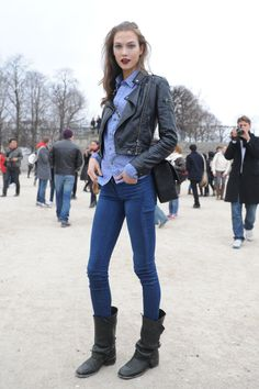 Model Street Style: Karlie Kloss Does Casual Biker Chic | The Front Row View