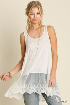 Find lace that has a deep design, allowing for top length variations